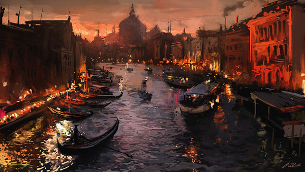 Иллюстрация. Название: «Dusk River». Автор: Darek Zabrocki. Источник: https://get.wallhere.com/photo/painting-boat-cityscape-Italy-night-reflection-Venice-artwork-evening-river-canal-gondolas-screenshot-waterway-gondola-148511.jpg