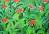 The red flowers, 1997  Oil on canvas, 97х70  сm