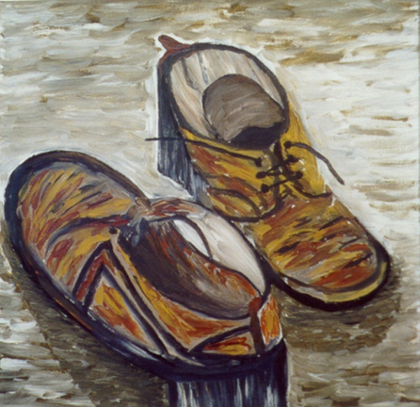 Old  boots, 2001. Oil on canvas, 50х50 cm