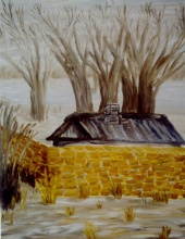 House behind the stone wall, 2001. Oil on canvas, 68x97 cm