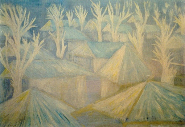 House-tops and trees in the winter fog, 2001 Oil on canvas,58x97 cm