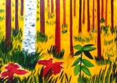 Autumnal forest,  1998 Oil on canvas, 97 х 70 cm